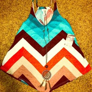 NWT Multicolored striped Top With Necklace